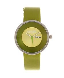 Unisex Button Green Genuine Leather Strap Watch 40mm