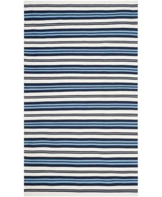 Leopold Stripe LRL2462B White and French Blue 4' X 6' Area Rug
