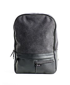 Canvas-Vegan Leather Backpack