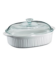 French White 4-Qt. Oval Casserole with Glass Lid