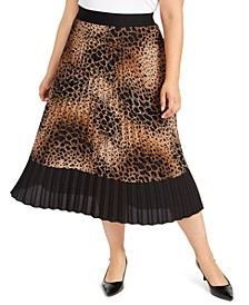 Plus Size Animal-Print Midi Skirt, Created for Macy's