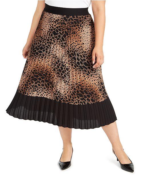Alfani Plus Size Animal-Print Midi Skirt, Created for Macy's