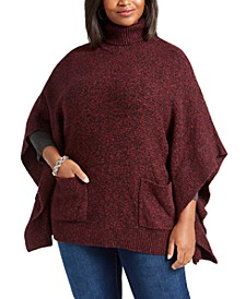 Plus Size Turtleneck Poncho