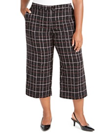 Alfani Plus Size Plaid Culotte Pants, Created For Macy's