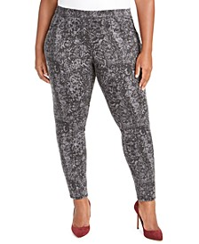 Plus Size Pull-On Snakeskin Print Pants, Created For Macy's