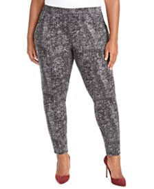 Style & Co Plus Size Pull-On Snakeskin Print Pants, Created For Macy's