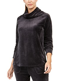 Velour Funnel-Neck Top
