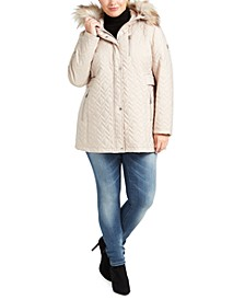 Plus Size Faux-Fur-Trim Hooded Quilted Jacket