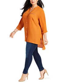 NY Collection Plus Size Y-Neck High-Low Blouse