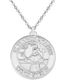 """Symbols of Strength St. Francis of Assisi 18"""" Pendant Necklace in Fine Silver-Plate"""