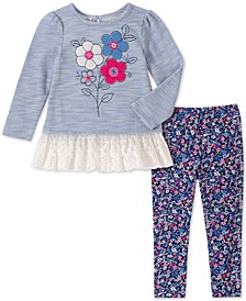 Little Girls 2-Pc. Flower Tunic & Printed Leggings Set