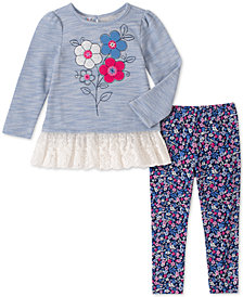 Kids Headquarters Toddler Girls 2-Pc. Flower Tunic & Printed Leggings Set