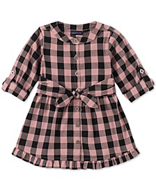 Toddler Girls Cotton Plaid Flannel Dress