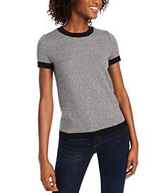 Maison Jules Ribbed Ringer Short-Sleeve Sweater, Created for Macy's