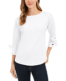 Charter Club Petite Jacquard Bow-Cuff Top, Created For Macy's