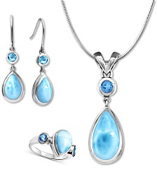 Marahlago Larimar & Blue Topaz Atlantic Pear Jewelry Collection in Sterling Silver