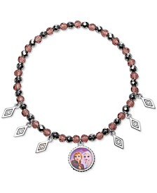 Children's Anna & Elsa Hematite Bead & Crystal Charm Stretch Bracelet in Sterling Silver