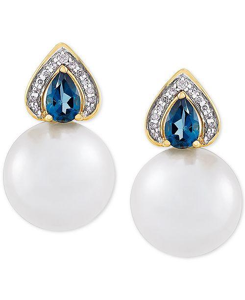 Honora Cultured Ming Pearl (12mm), London Blue Topaz (1 ct. t.w.) & Diamond (1/10 ct. t.w.) Stud Earrings in 14k Gold