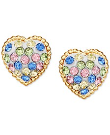 Children's Multi-Color Swarovski Crystal Heart Stud Earrings in 14k Gold