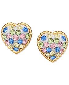 Children's Multi-Color Swarovski Crystal Heart Stud Earrings in 14k Gold