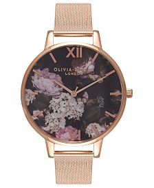 Olivia Burton Women's Rose Gold Ion-Plated Stainless Steel Mesh Bracelet Watch 38mm