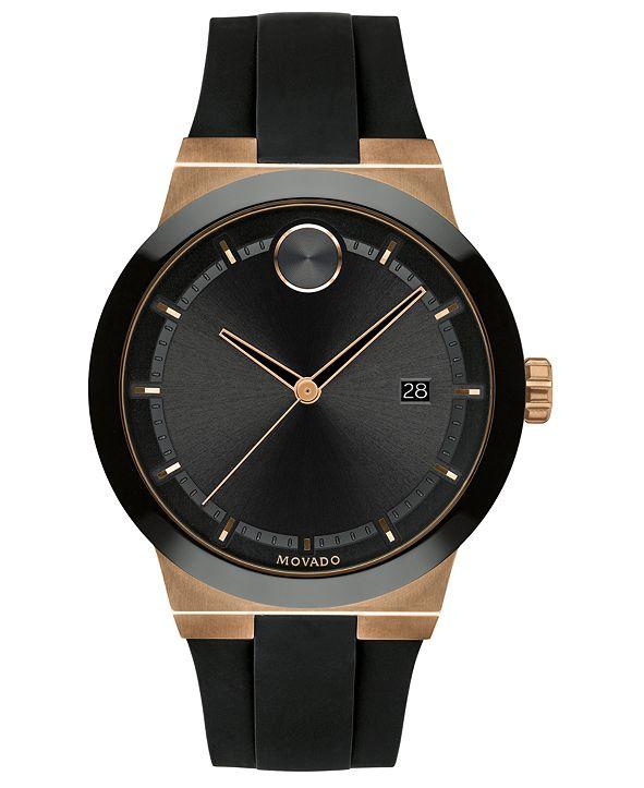 Movado Men's Fusion Swiss Bold Black Silicone Strap Watch 42mm