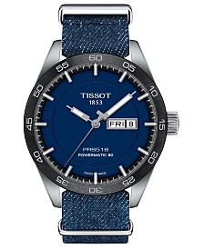 LIMITED EDITION Tissot Swiss T-Sport Powermatic 80 Blue Fabric Strap Watch 42mm, Created for Macy's