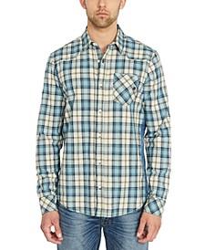 Men's Sidax Regular-Fit Pieced Plaid Shirt