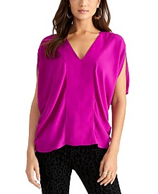 RACHEL Rachel Roy Cap-Sleeve Satin Top