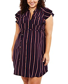 Plus Size Flutter-Sleeve Shirtdress