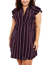 Motherhood Maternity Plus Size Flutter-Sleeve Shirtdress