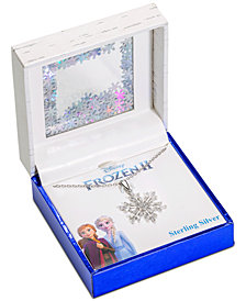"Disney© Cubic Zirconia Frozen Snowflake Pendant Necklace in Sterling Silver, 16"" + 2"" Extender"