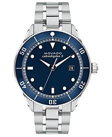 Men's Swiss Heritage Series Calendoplan Stainless Steel Bracelet Watch 43mm
