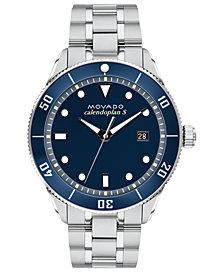 Movado Men's Swiss Heritage Series Calendoplan Stainless Steel Bracelet Watch 43mm