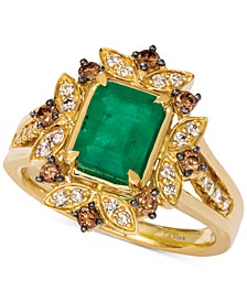 Costa Smeralda Emerald (1-1/5 ct. t.w.) & Diamond (1/2 ct. t.w.) Ring set in 14k Gold
