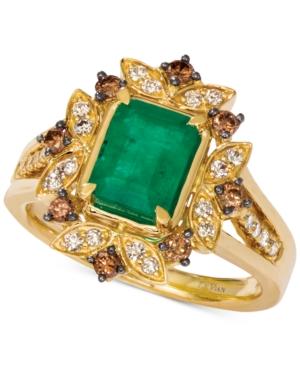 Costa Smeralda Emerald (1-1/5 ct. t.w.) & Diamond (1/2 ct. t.w.) Ring set in 14k Gold
