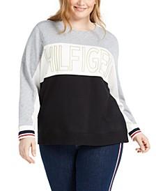 Sport Plus Size Colorblocked Logo Sweatshirt