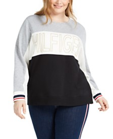 Tommy Hilfiger Plus Size Colorblocked Logo Sweatshirt