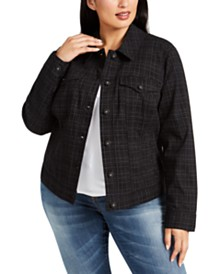 Style & Co Plus Size Plaid Denim Jacket, Created for Macy's