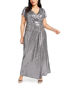 Plus Size Draped Sequined Gown