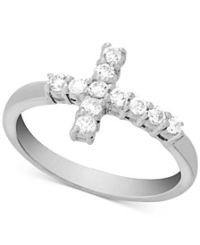Crystal Cross Ring in Fine Silver-Plate