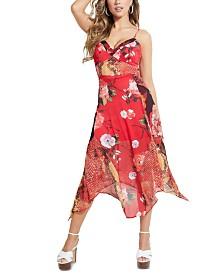 GUESS Pamelia Mixed-Print Handkerchief-Hem Dress