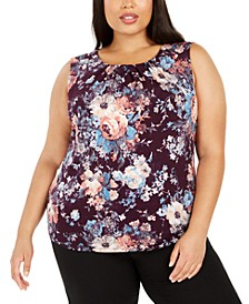 Plus Size Floral Pleated-Neck Top