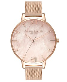 Olivia Burton Women's Rose Gold-Tone Stainless Steel Mesh Bracelet Watch 38mm