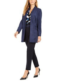 Calvin Klein Suede Long Jacket, Sleeveless Printed Top & High-Waisted Pants