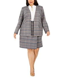 Plus Size Plaid Collarless Blazer, Zip-Up Knit Top & Plaid Pencil Skirt