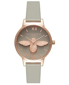 Women's 3D Bee Gray Leather Strap Watch 30mm