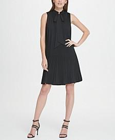 Sleeveless Pleated Tie Neck Shift Dress
