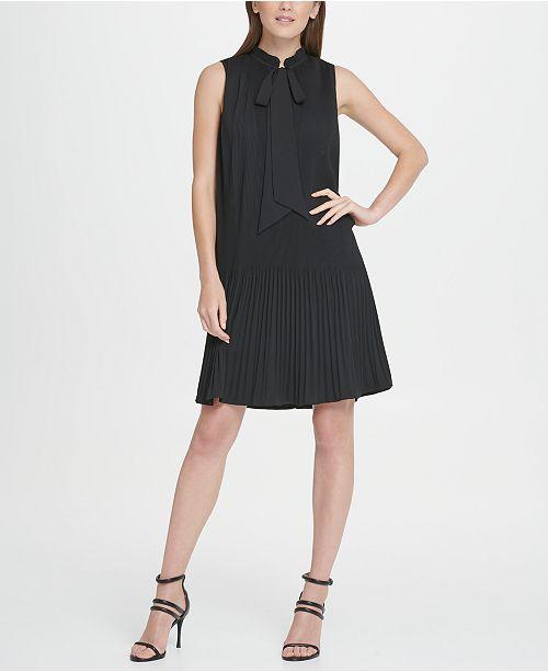 DKNY Sleeveless Pleated Tie Neck Shift Dress