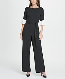 Colorblack Flare Sleeve Jumpsuit